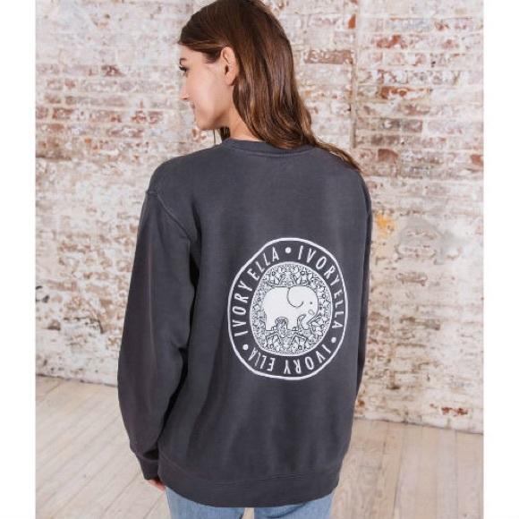 ivory ella Tops - Ivory Ella XS Grey Elephant Crew Neck Sweatshirt